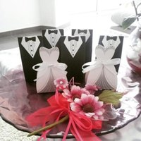 Wholesale 50 set Bridal Gift Cases Groom Tuxedo Dress Gown Ribbon Wedding Favor Candy Box Wedding Favors And Gifts