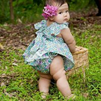 baby girl princess romper - Baby girls jumpsuit summer toddler kids fly sleeve floral print falbala romper children Lace Princess Ruffles Tops babies clothes A8256