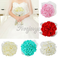 Wholesale New High Quality Pretty Charming Beautiful Wedding Artificial Rose Flowers Lace Bridal Bouquet Crystal Rhinestone Decor