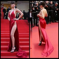 bella jacket - Bella Hadid Long Dresses Evening Wear Sexy High Slit Plunging V Neck Halter Red Prom Gowns Formal Party Dress