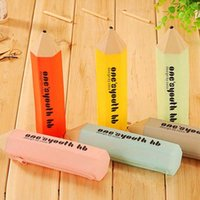 Wholesale Creative Pencil Shape Pen Pencil Bag High Quality Silicone Zip Bags School Office Stationery Storage Bag Kid Children Gift Prize
