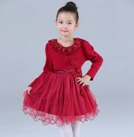 american beauty rose - Princess Christmas Winter Kids Lovely Clothes Girl s Dresses Beauty Girl Long Sleeved Rose Neck Tulle Ball Gown Thicken Dress Color