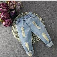 Wholesale 2016 Spring Autumn Children Pants Girl Boy Fashion Holes Jeans Kids Baby Pants Children Clothing Trousers A72505