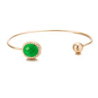 Wholesale Fashion open cuff women bangle fits European beads charm bracelet green crystal jewelry mm yellow gold plated bangle