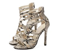 snake print shoes - 2016 summer new Rome style Europe Star with a snake skin stiletto sandals shoes women Gladiator sandals