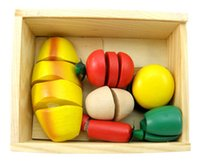 Wholesale Wooden toys Fruits cut Children Toys High quality solid wood Color box play house Small mixed