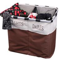 Wholesale 2016 New Sections Foldable Laundry Basket Double Washing Clothes Sorter Basket Bin Storage Hamper us6