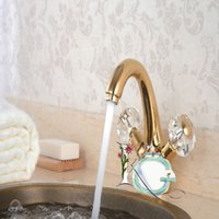 Wholesale high quality crystal handle golden plated basin faucet tap double handle single hole crystal washing sink tap golden luxury mixer tap mixer