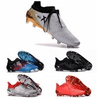 ankle grinding - 2016 Men Football Soccer Shoes X Purechaos Firm Ground Cleats Football Boots Botas De Futbol High Ankle Soccer Cleats FG AG Sliver