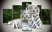 Wholesale 5 Panel Oil Painting Cuadros Quadros Hot Sell Wall Painting Animal And Tiger Paint On Canvas Prints Home Decorative