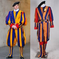 Wholesale newest halloween Carnival costume for adult men and women unisex soldiers cosplay costume papal swiss guard uniform