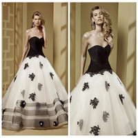 autumn flowers uk - White And Black Wedding Dresses Lace Appliques Custom Gothic Western UK Top Sale Bridal Gowns Custom Online Plus Size