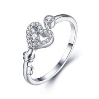 Wholesale High quality Hot selling Ladies sterling Silver fashion charm girl gift gemstone Beautiful Heart love ring