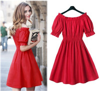big bosom - 2016 Chun Xia Is Installed On The New Word Brought Off The Shoulder Accept Waist Dress That Wipe A Bosom Big Size S XL Women Dre