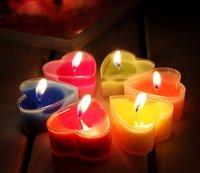 Corazón Tealights 9pcs / set con los regalos plásticos claros del favor de la boda de la vela de la envoltura / del té / cumpleaños / decoración del día de tarjeta del día de San Valentín DHL liberan el envío