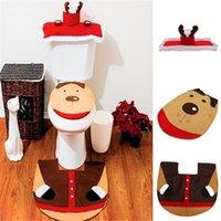 beige bath mat - 3Pcs set Creative Elk Toilet Seat Cover Toilet Sets Toilet Clothes Christmas Decorations Bath Mat Holder Closestool Lid Cover