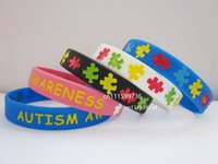 autism awareness bracelets silicone - 100pcs AUTISM AWARENESS Silicone Filled in Colour Adult Size Youth Size colours Wristband Bracelet