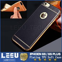 Wholesale iphone s soft case luxury electroplating tpu case pu leather case For iphone plus note ultra thin back cover