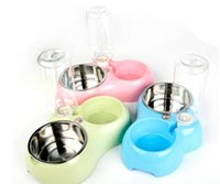 Wholesale Pet bowl stainless steel plastic dog bowl cats bowl candy color Drinking water food mix with drinking bottles