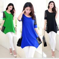 Wholesale tshirts plus size Long Wome Fashion Lace Blouse Patchwork Top Blouse Casual Shirts T shirt xl xl