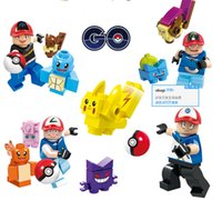 Wholesale New Pocke Monster Squirtle Charmander Pikachu Bulbasaur poke Building Blocks Bricks Poke Minifigures Toy without box DHL shipping L001