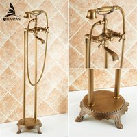 antique metal telephones - Bathroom Antique Floor Stand Faucet Telephone Type Bath Shower Mixer Brass Shower set Luxury Bathtub Tap HJ