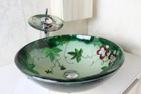 Wholesale Tempered glass hand basin hand painted basin hand painted art basin factory direct N