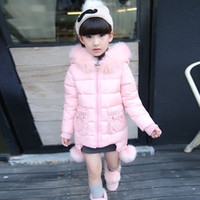Wholesale 2016 fashion medium long winter coat for girls children clothing big girls thermal cotton padded jacket with fur hood years