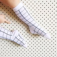 Cheap Fashion new korean children socks baby boys girls white grid plaid socks kids cotton socks leg children Stockings kids clothing A8065