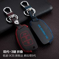acces control - For Hyundai MISTRA Santafe Sonata IX35 Buttons Folding Hand Sewing Genuine leather Remote Control Car Key chain Car key cover Auto Acces