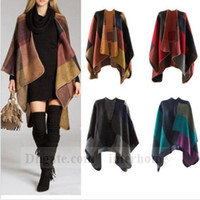 army poncho - Women Patchwork Plaid Poncho Cashmere Scarf Grid Cape Lattice Poncho Wrap Shawl Blanket Cloak Collar Jacket Coat B1281