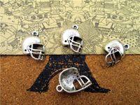 antique football helmet - 60pcs Football Helmet Charms Antique Tibetan Silver Tone Helmet Charm pendants x14mm