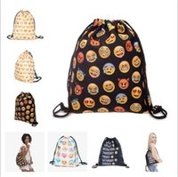 Wholesale fashion emoji D printing Drawstring bag Oxford bags shoulder backpack shopping shopper bags school bags for adult men women christmas gifts