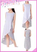 asymmetric chiffon hem dress - Women Girls Fashion Casual Elegant A Line Dresses Chiffon Linen Long Asymmetric Hem Skirts Round Neck Sleeveless ED000003