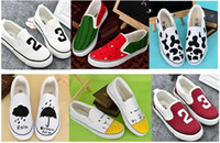 applique flags outdoors - 2016 new woman canvas shoes Low top Hand Painted Superman umbrella love UK flag Shoes outdoor fashion woman sneakers