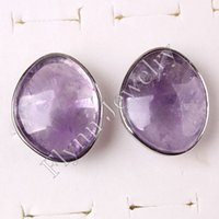Wholesale musiling Jewelry Wedding Ring Natural Stone Crystal Rings Charms Amethyst Rose Quartz etc Adjustable Accessories Silver Plated Jewelry