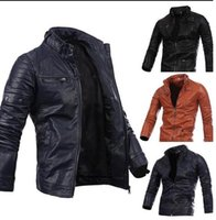 Wholesale 2017 New fashion Slim Winter pu leather Jacket mens More zip stand collar motorcycle leather stitching jacket Outerwear Coats