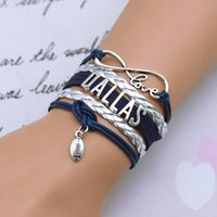 Wholesale New popular dallas infinity bracelet dallas cowboys football bracelets Team Metallic Silver Cheer gifts