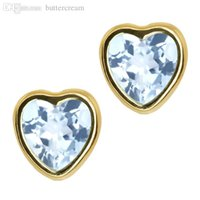 aquamarine stud earrings yellow gold - Ct Heart Shape Sky Blue Aquamarine k Yellow Gold bezel Stud Earrings mm