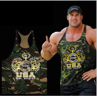 Cheap Wholesale-Europe based fitness camouflage vest cotton workout tank tops camo gym stringer fit muscle mens tank tops shirt gasp