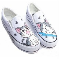 big cat paintings - Hand painted canvas shoes women low to help lazy big cat face painted canvas shoes students casual shoes student