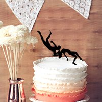 Wedding Cake Supplies aerial man - Wedding Cake Topper Aerial Acrobatics Man and Woman Performance Silhouette Party Supplies Unique Cake Topper for Wedding Anniversary