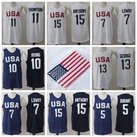 Wholesale USA Olympic Basketball Jersey Cheap Basketball Jersey USA Olympic Basketball Shirts USA Olympic Basketball Wears White and Blue