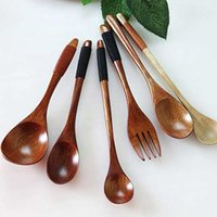 Wholesale KASH Newest Feeding wooden spoon safety flatware fork High quality The Wooden Tea coffee Spoon creative bone china dinnerware
