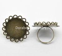 antique onyx rings - set cosmetic Antique Bronze Adjustable Cabochon Settings Rings mm US Fit mm B19508