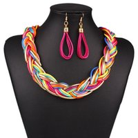 big orange earrings - Newest Design Punk Style Colorfull Big Choker Bib Collar Necklace Alloy Twist Statement Jewelry Set For Women Party Gift N2856