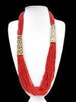 african wood carvings - 27 Ethnic Red Bead Long Necklace Multilayer Carved Hollow Flower Woman Gift oyzz