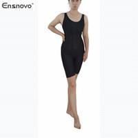 Wholesale Ensnovo Womens Nylon Piece Spandex Top Costumes Sleeveless Knee Length Tank Starps Ballet Dancewear Sports Gymnastics Unitard