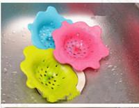 bath waste - 3 color Silicone Bath Kitchen Waste Sink Strainer Filter Net Drain Hair Stopper Flower Shape Kitchen Wash Drain Sink Strainer KKA63