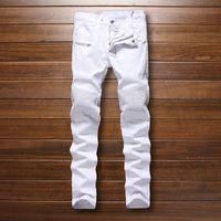 skinny jeans for men - Famous Brand Designer Mens balmain Biker Jeans Pleated White Motorcycle Jeans For Men plus size hip hop men jogger pants No Belt